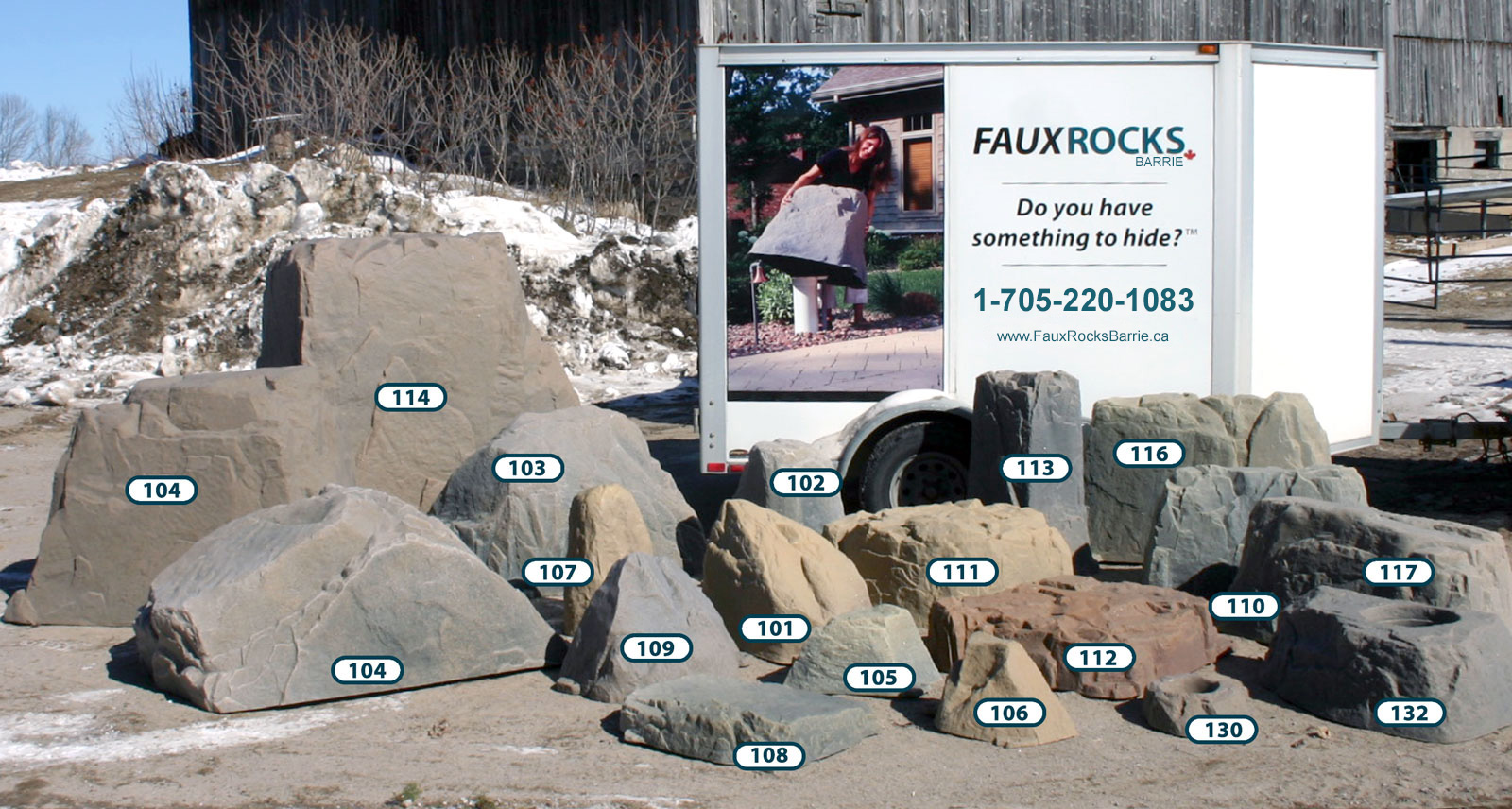 A group shot of the fake rocks